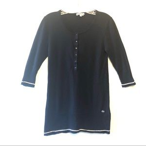 Lacoste Navy Wool 3/4 Sleeve Tunic Sweater Size L